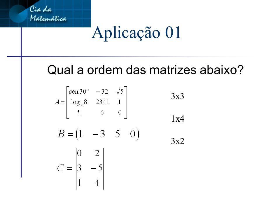 Ordem da matriz n Na matriz M, m=3 n=4 Ordem da matriz