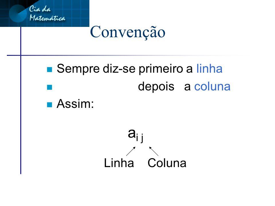 Em matemática é convencionado: n Se quisermos identificar a posição do elemento 6 Linha 2 Coluna 1 Ou simplesmente: a 21