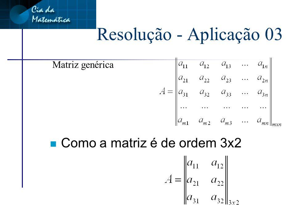 Aplicação 03 Determinar a matriz A = (a IJ ) 3x2 onde a IJ = i + j a 11 = 1 + 1 a 12 = 1 + 2 i j i + j