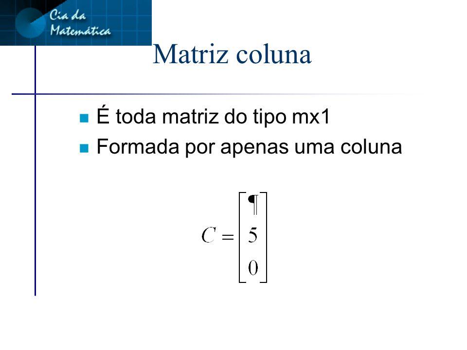 Matriz linha n É toda matriz do tipo 1xn n Formada por apenas uma linha