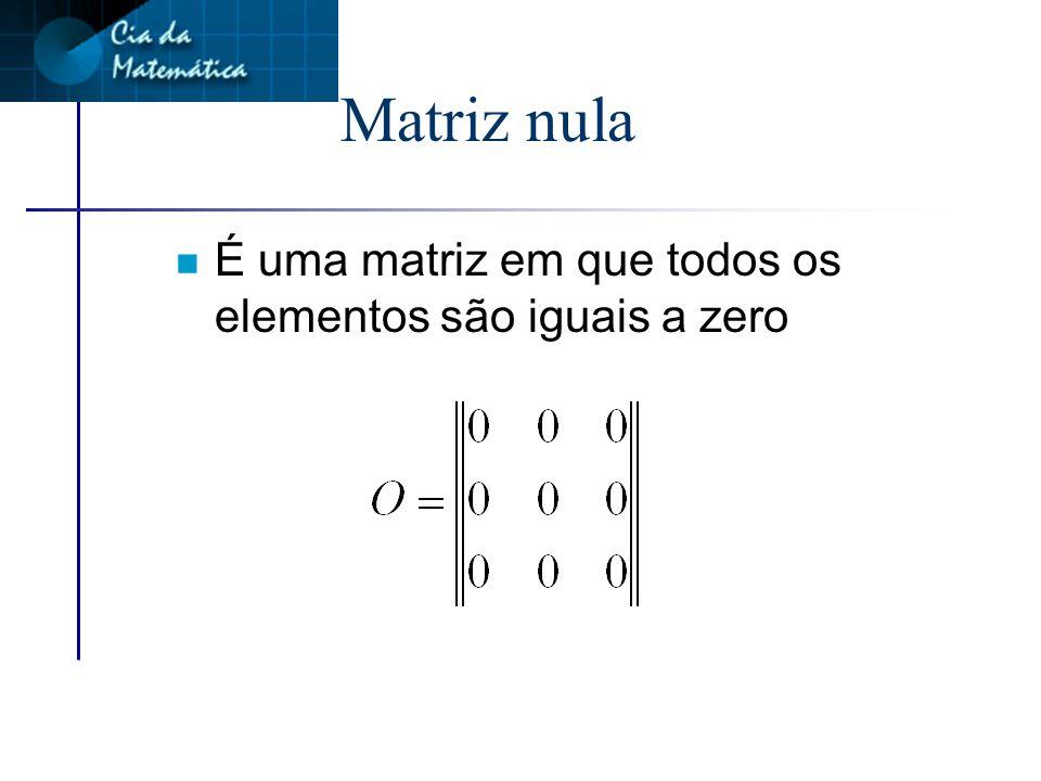 Matriz coluna n É toda matriz do tipo mx1 n Formada por apenas uma coluna
