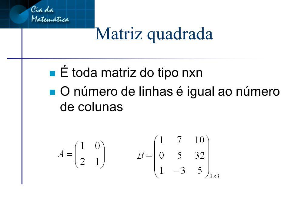 Matriz nula n É uma matriz em que todos os elementos são iguais a zero