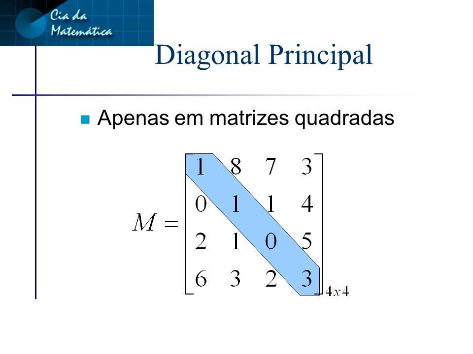 Matriz quadrada n É toda matriz do tipo nxn n O número de linhas é igual ao número de colunas
