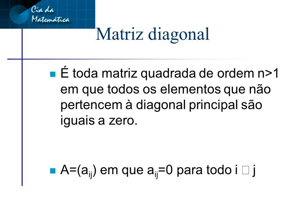 Índices da diagonal secundária n Os índices dos elementos da diagonal secundária somam n+1
