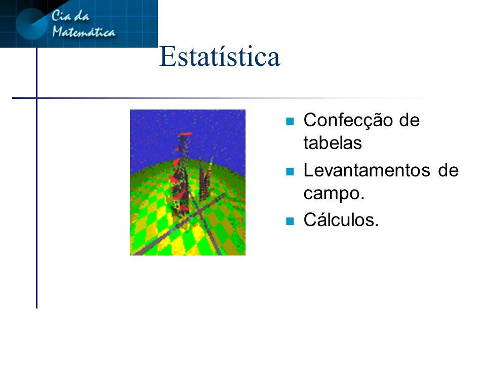 Estatística n Confecção de tabelas n Levantamentos de campo. n Cálculos.