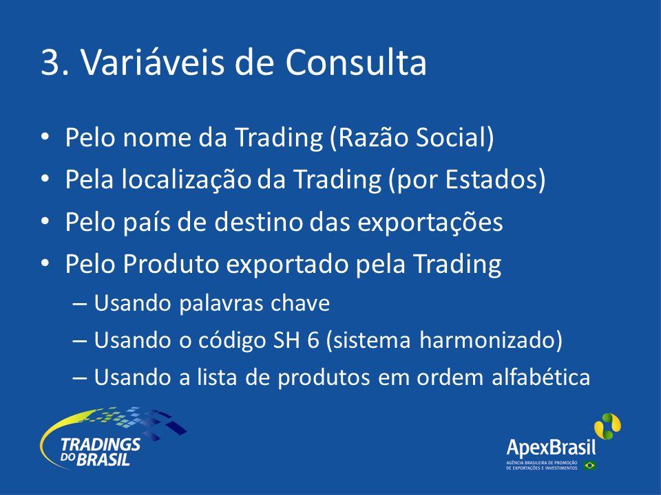 3. Variáveis de Consulta Pelo nome da Trading (Razão Social) Pela localização da Trading (por Estados) Pelo país de destino das exportações Pelo Produ