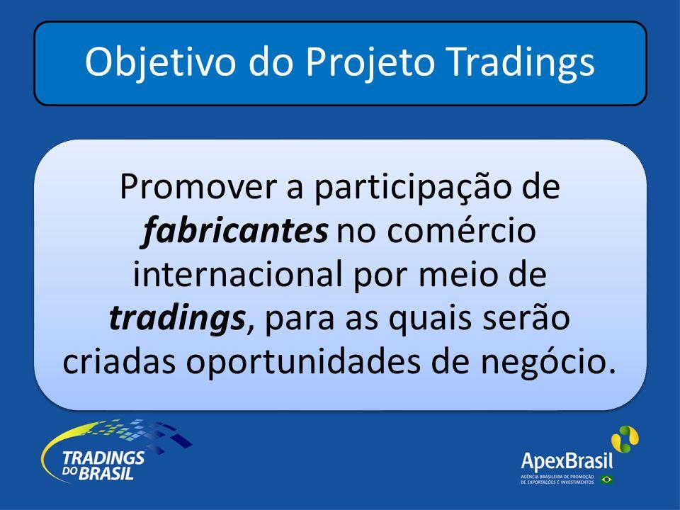 PROJETO TRADINGS Conceito Tradings do Brasil no Brasil Otimizando o acesso ao mercado internacional Brasil Trade no Exterior Optimizing the access to brazilian product diversity