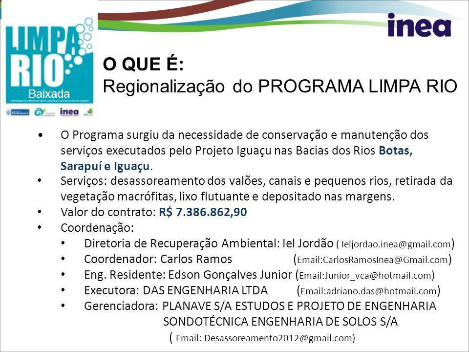 O Programa surgiu da necessidade de conservação e manutenção dos serviços executados pelo Projeto Iguaçu nas Bacias dos Rios Botas, Sarapuí e Iguaçu.