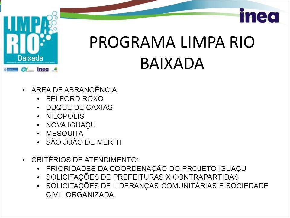 PROGRAMA LIMPA RIO BAIXADA Baixada ÁREA DE ABRANGÊNCIA: BELFORD ROXO DUQUE DE CAXIAS NILÓPOLIS NOVA IGUAÇU MESQUITA SÃO JOÃO DE MERITI CRITÉRIOS DE AT