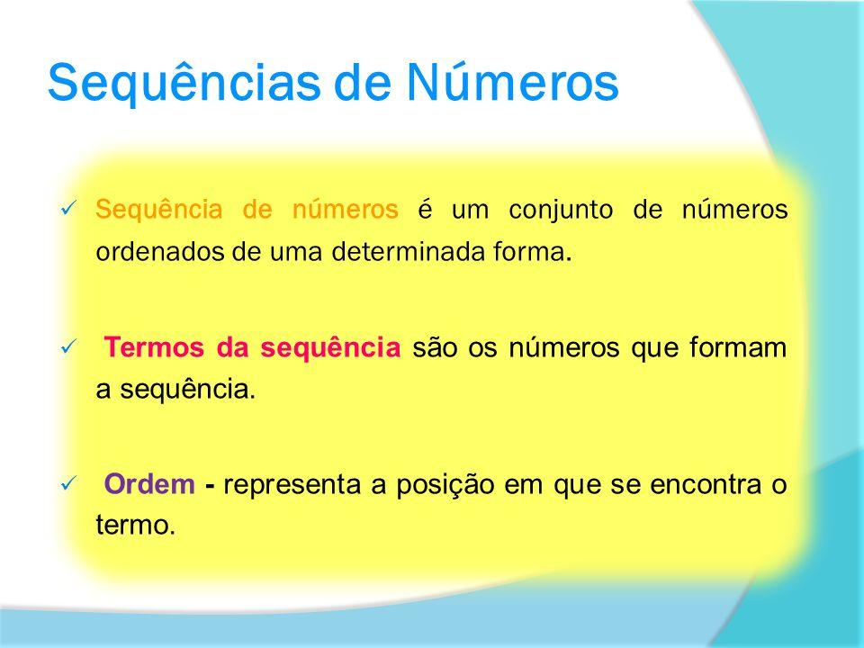 Sequências de Números Sequência de números é um conjunto de números ordenados de uma determinada forma. Termos da sequência são os números que formam