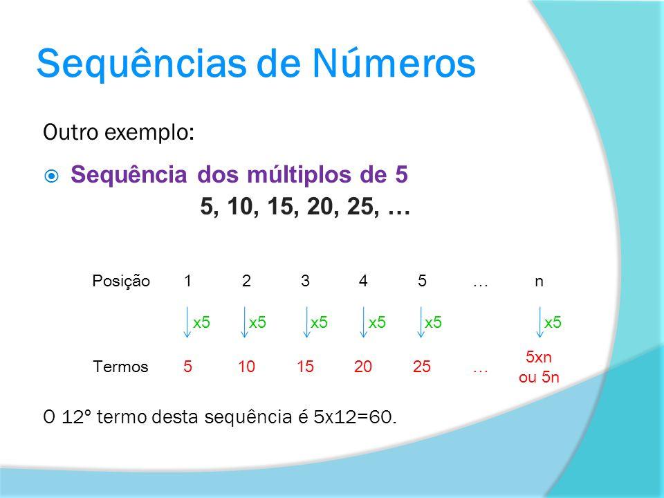 Outro exemplo: Sequência dos múltiplos de 5 5, 10, 15, 20, 25, … O 12º termo desta sequência é 5x12=60. Posição12345…n x5 Termos510152025… 5xn ou 5n