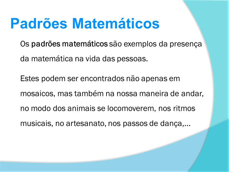 Os padrões matemáticos são exemplos da presença da matemática na vida das pessoas. Estes podem ser encontrados não apenas em mosaicos, mas também na n