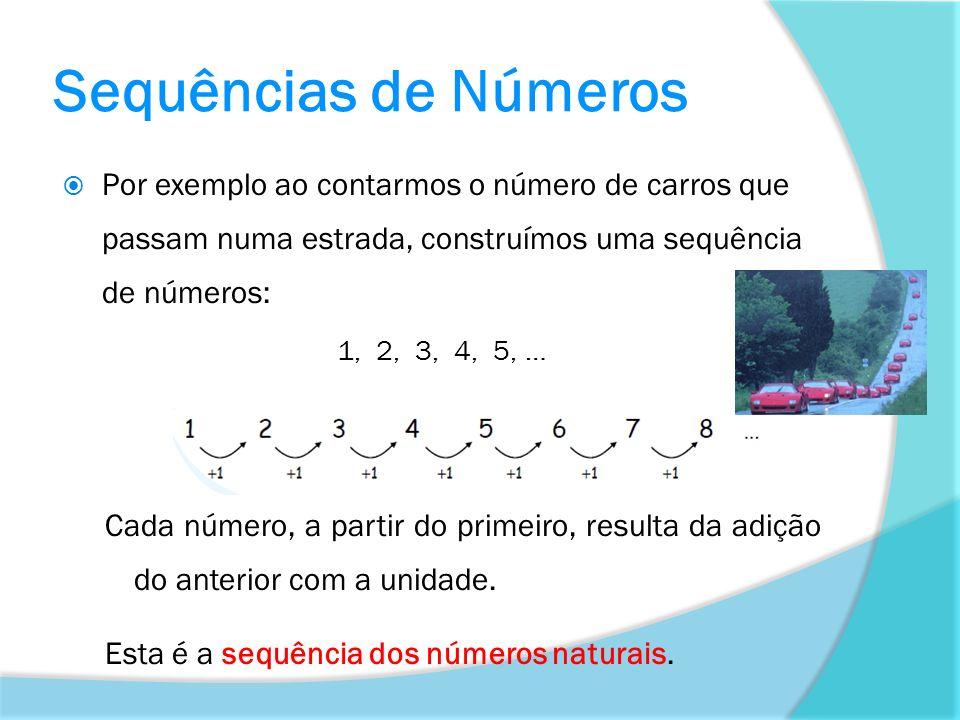 Sequências de Números Por exemplo ao contarmos o número de carros que passam numa estrada, construímos uma sequência de números: 1, 2, 3, 4, 5, … Cada