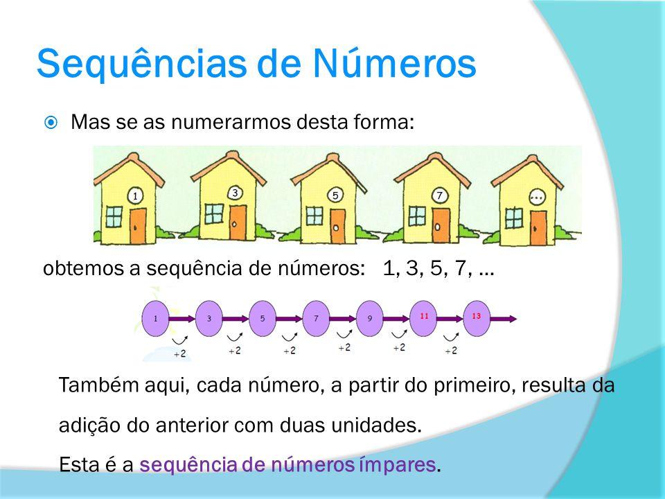 Sequências de Números Mas se as numerarmos desta forma: obtemos a sequência de números: 1, 3, 5, 7, … Também aqui, cada número, a partir do primeiro,