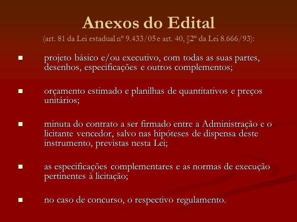 Anexos do Edital (art. 81 da Lei estadual nº 9.433/05 e art. 40, §2º da Lei 8.666/93): projeto básico e/ou executivo, com todas as suas partes, desenh