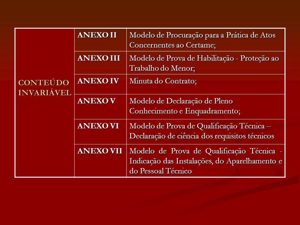 CONTEÚDO INVARIÁVEL ANEXO II Modelo de Procuração para a Prática de Atos Concernentes ao Certame; ANEXO III Modelo de Prova de Habilitação - Proteção