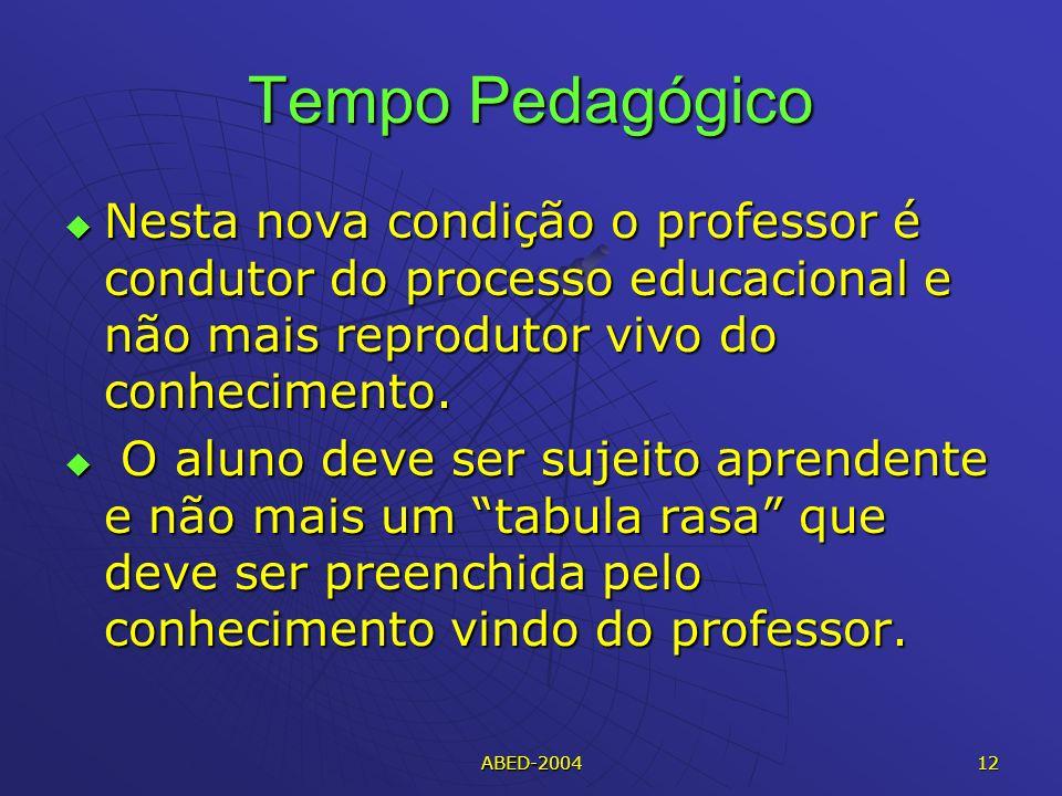 ABED-2004 12 Tempo Pedagógico Nesta nova condição o professor é condutor do processo educacional e não mais reprodutor vivo do conhecimento.