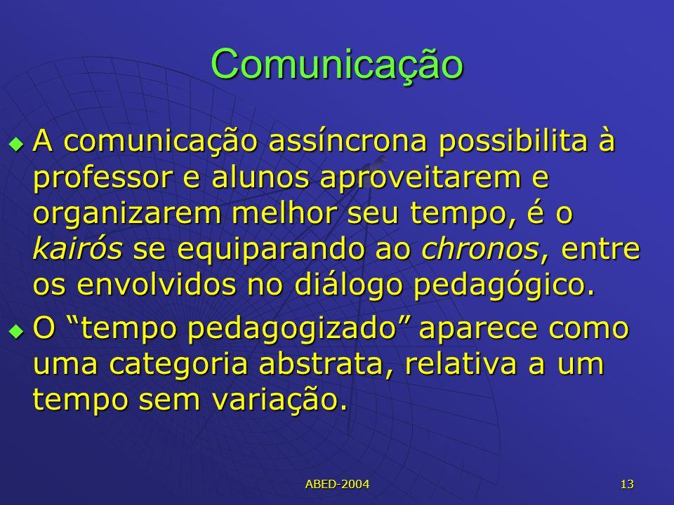 ABED-2004 13 Comunicação A comunicação assíncrona possibilita à professor e alunos aproveitarem e organizarem melhor seu tempo, é o kairós se equiparando ao chronos, entre os envolvidos no diálogo pedagógico.