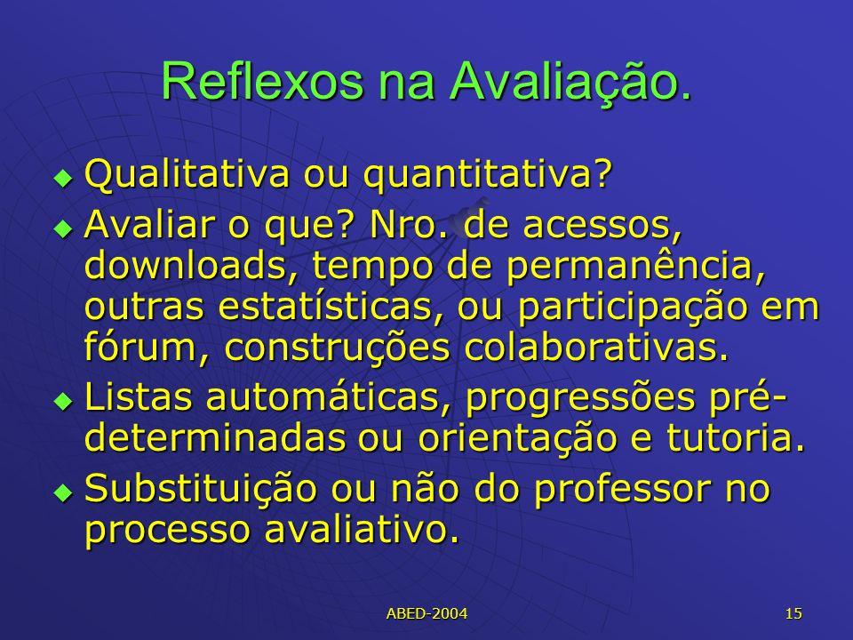 ABED-2004 15 Reflexos na Avaliação.Qualitativa ou quantitativa.
