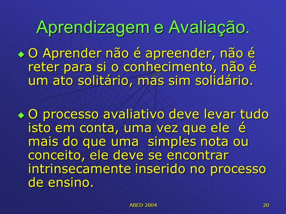 ABED-2004 20 Aprendizagem e Avaliação.