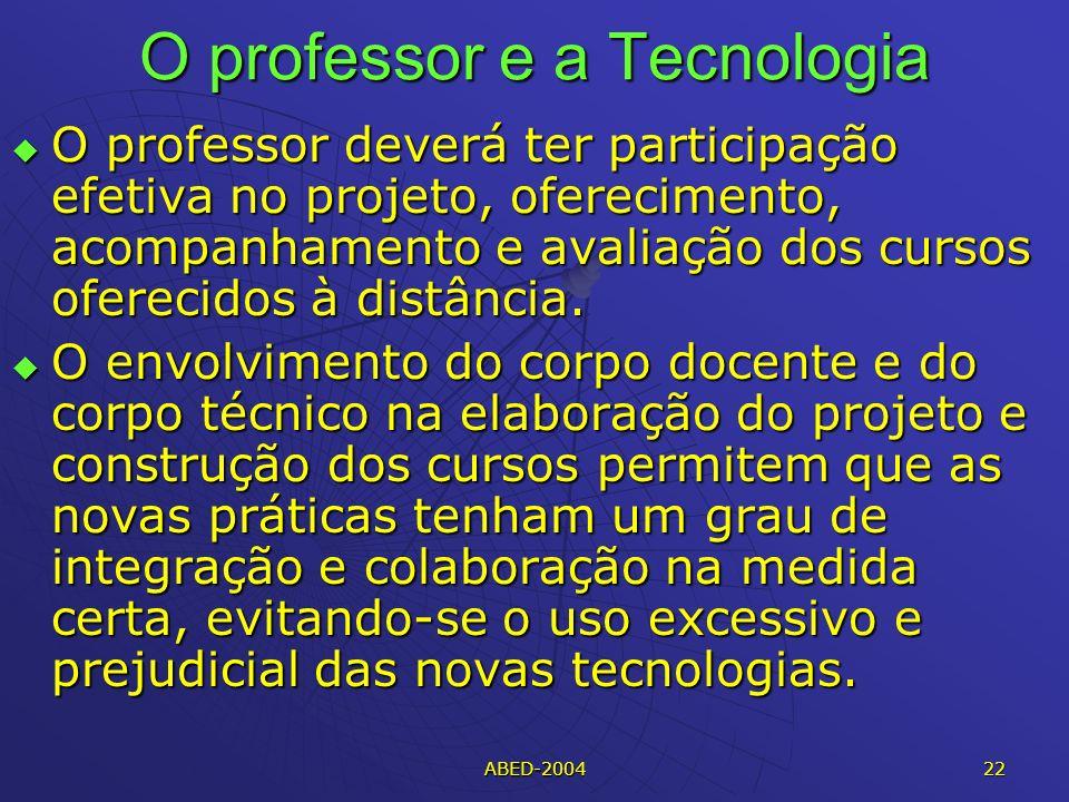 ABED-2004 22 O professor e a Tecnologia O professor deverá ter participação efetiva no projeto, oferecimento, acompanhamento e avaliação dos cursos oferecidos à distância.