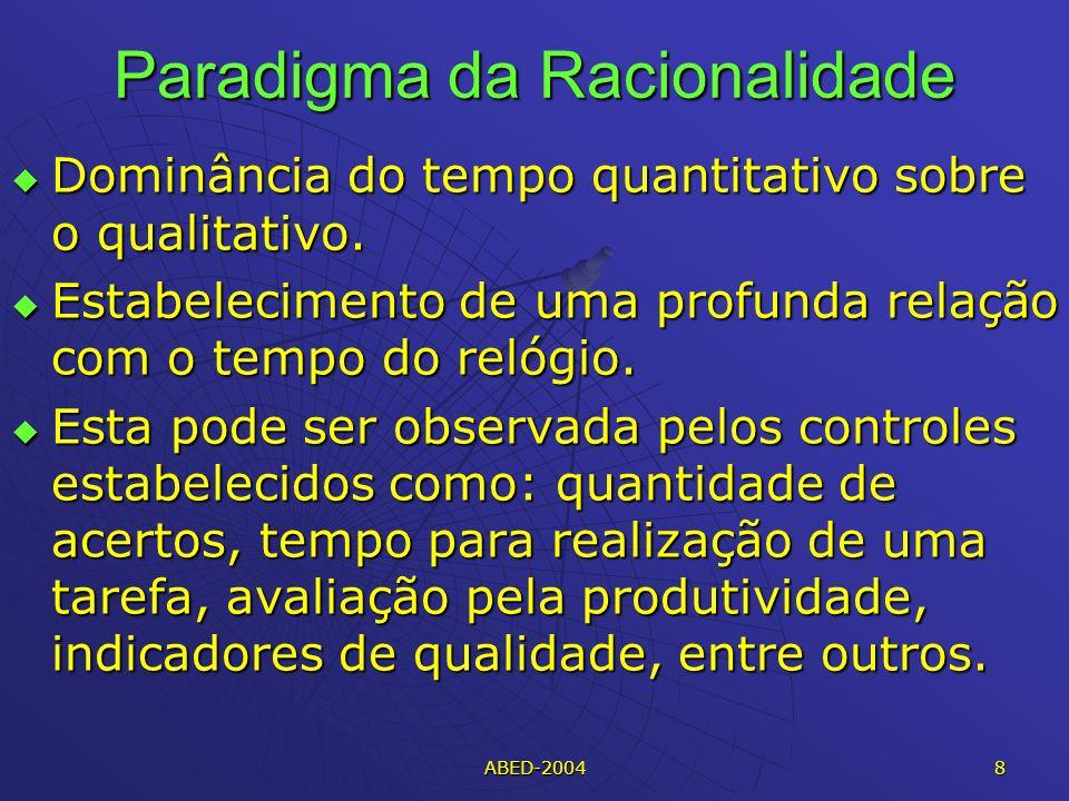ABED-2004 8 Paradigma da Racionalidade Dominância do tempo quantitativo sobre o qualitativo.