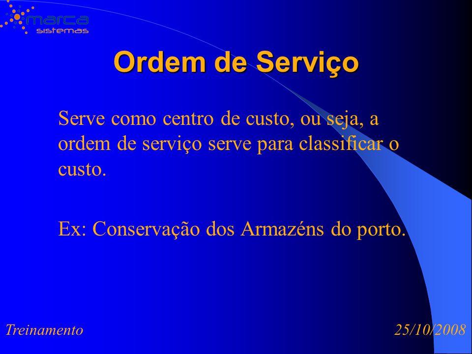 Ordem de Serviço Serve como centro de custo, ou seja, a ordem de serviço serve para classificar o custo. Ex: Conservação dos Armazéns do porto. Treina