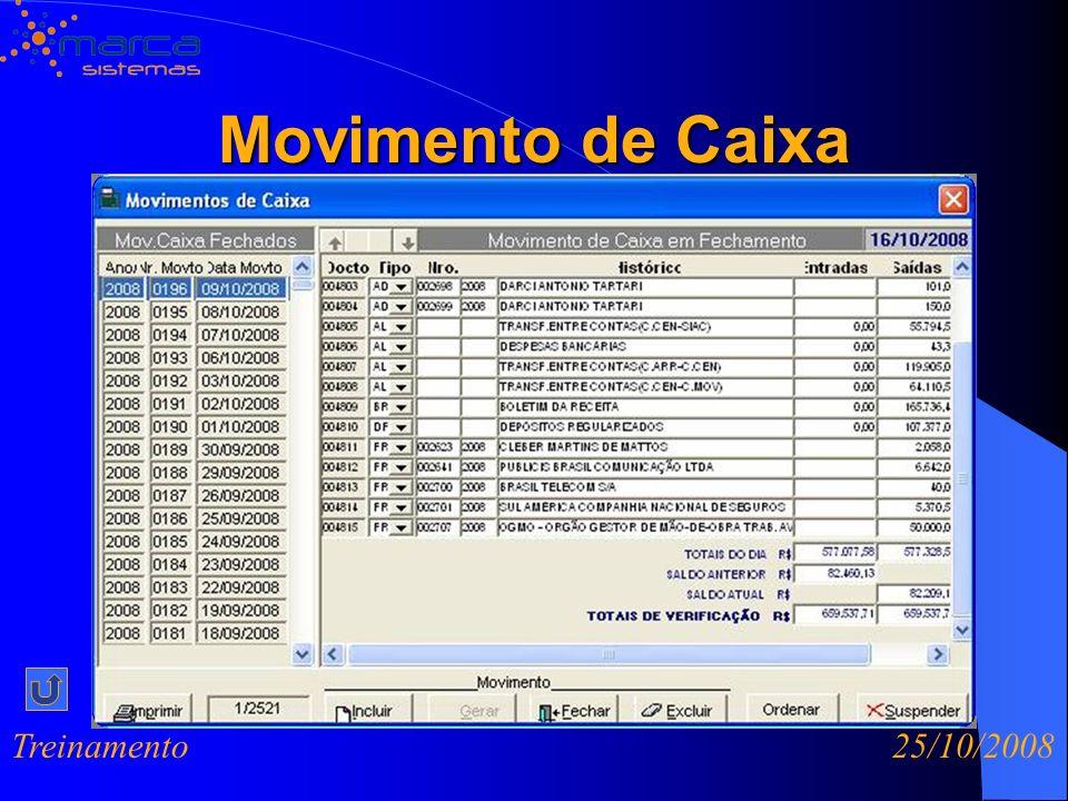 Movimento de Caixa Treinamento 25/10/2008