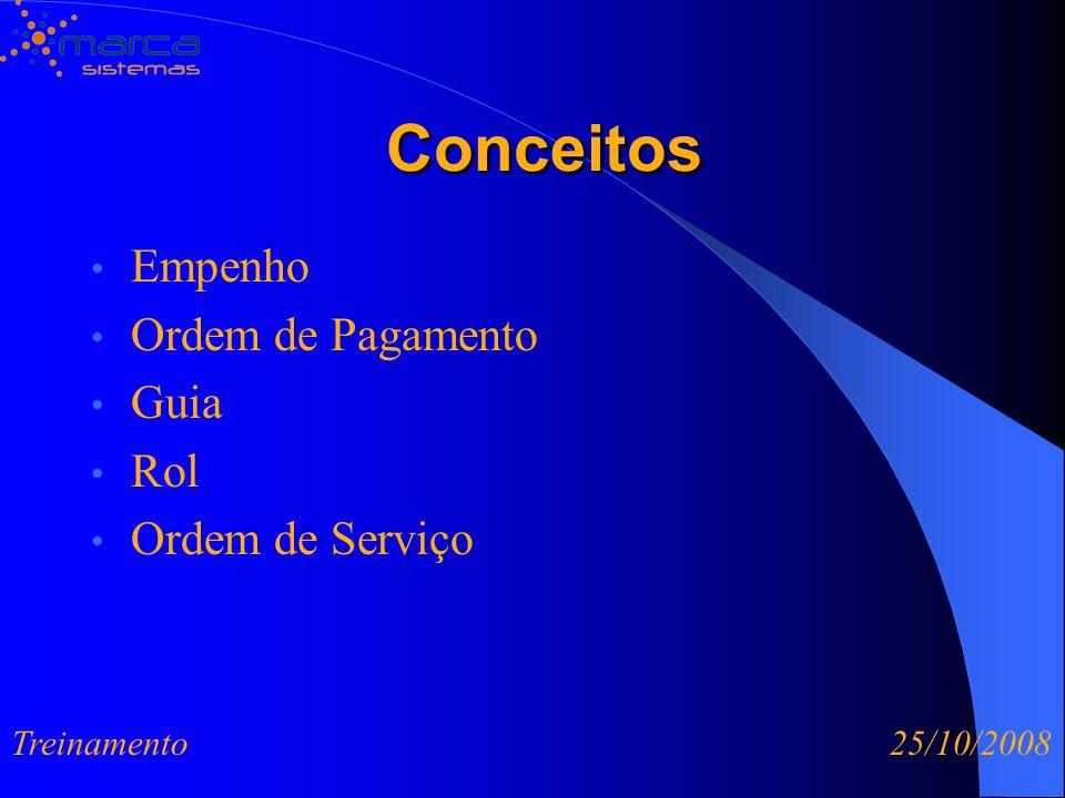 Conceitos Conceitos Empenho Ordem de Pagamento Guia Rol Ordem de Serviço Treinamento 25/10/2008