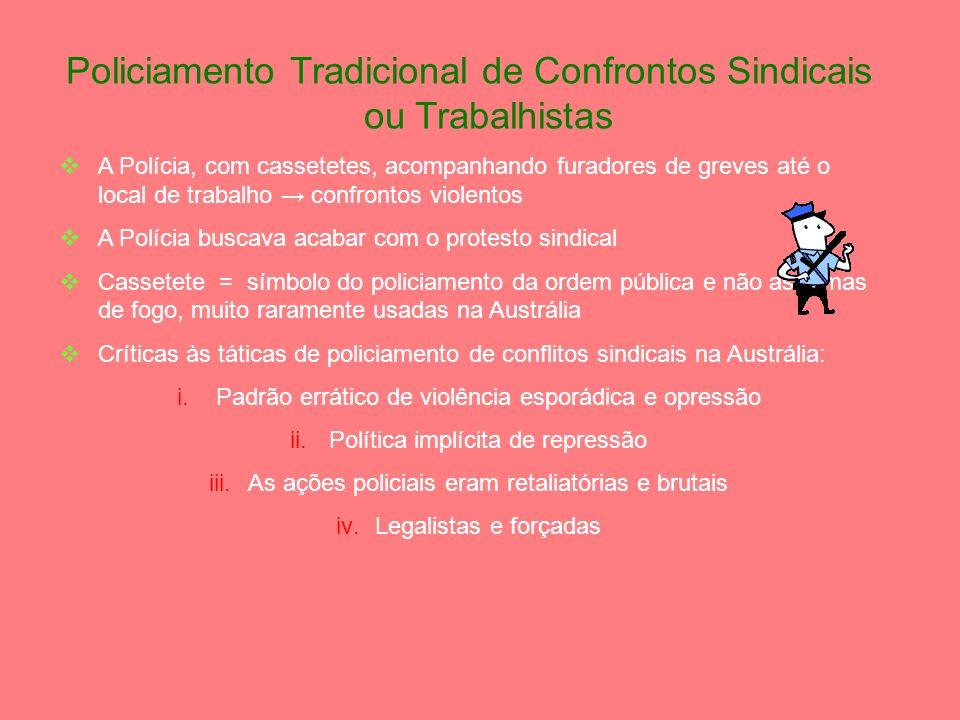 Comentários Gerais sobre o Policiamento da Ordem Pública (POP) Diversas formas de protestos públicos A reputação da polícia é afetada e espelhada no p