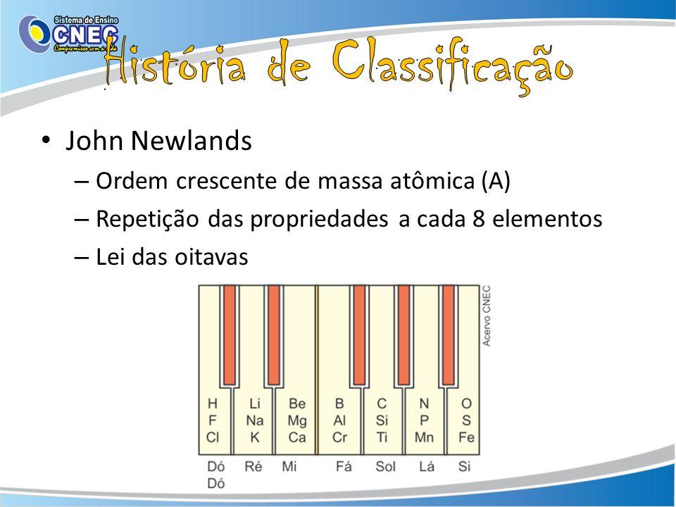 John Newlands – Ordem crescente de massa atômica (A) – Repetição das propriedades a cada 8 elementos – Lei das oitavas