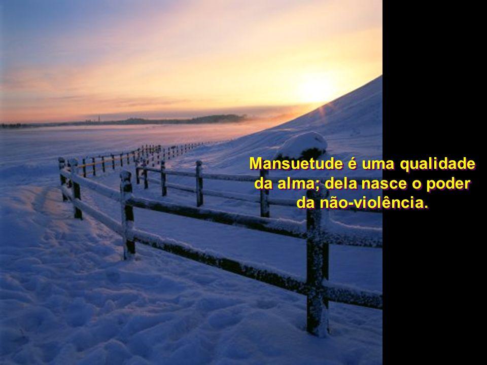 Mansuetude é uma qualidade da alma; dela nasce o poder da não-violência.