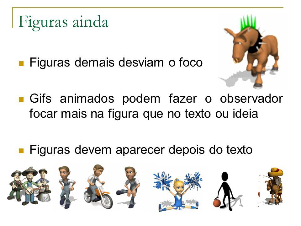 Figuras ainda Figuras demais desviam o foco Gifs animados podem fazer o observador focar mais na figura que no texto ou ideia Figuras devem aparecer d