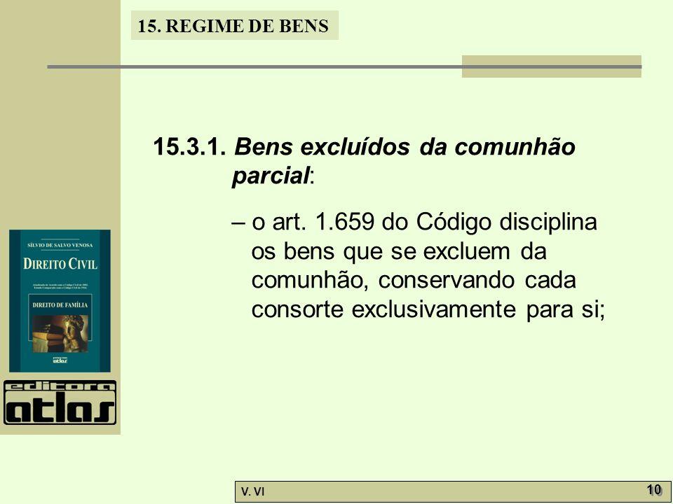 15. REGIME DE BENS V. VI 10 15.3.1. Bens excluídos da comunhão parcial: – o art. 1.659 do Código disciplina os bens que se excluem da comunhão, conser