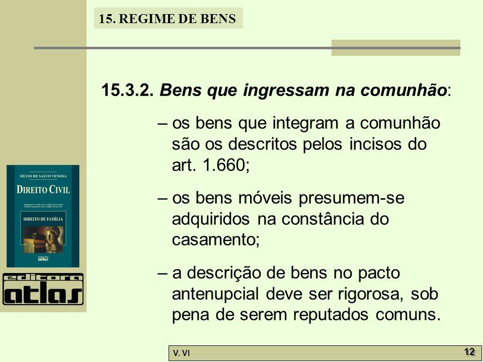 15. REGIME DE BENS V. VI 12 15.3.2. Bens que ingressam na comunhão: – os bens que integram a comunhão são os descritos pelos incisos do art. 1.660; –