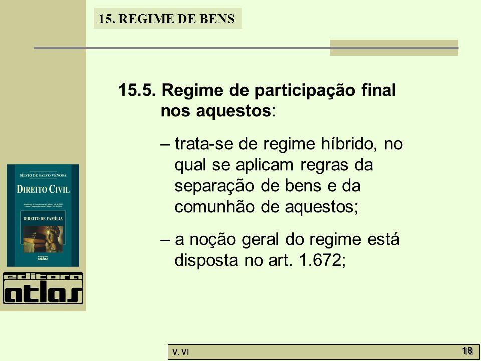 15. REGIME DE BENS V. VI 18 15.5. Regime de participação final nos aquestos: – trata-se de regime híbrido, no qual se aplicam regras da separação de b