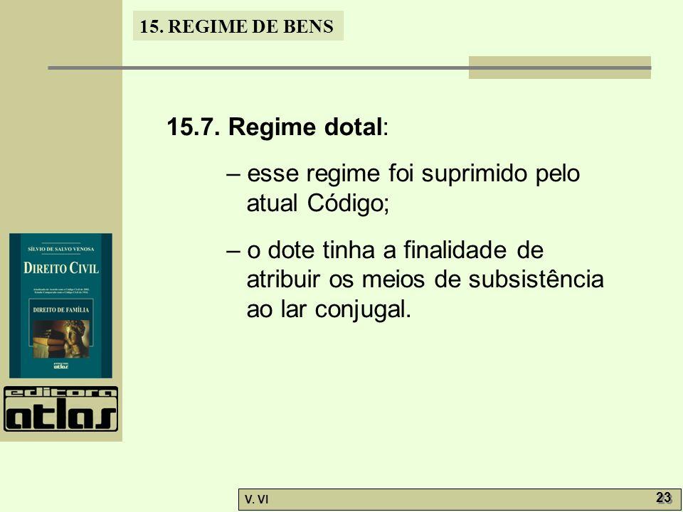 15. REGIME DE BENS V. VI 23 15.7. Regime dotal: – esse regime foi suprimido pelo atual Código; – o dote tinha a finalidade de atribuir os meios de sub