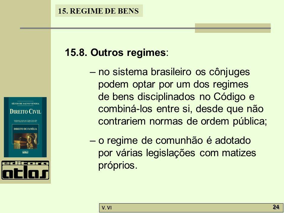15. REGIME DE BENS V. VI 24 15.8. Outros regimes: – no sistema brasileiro os cônjuges podem optar por um dos regimes de bens disciplinados no Código e
