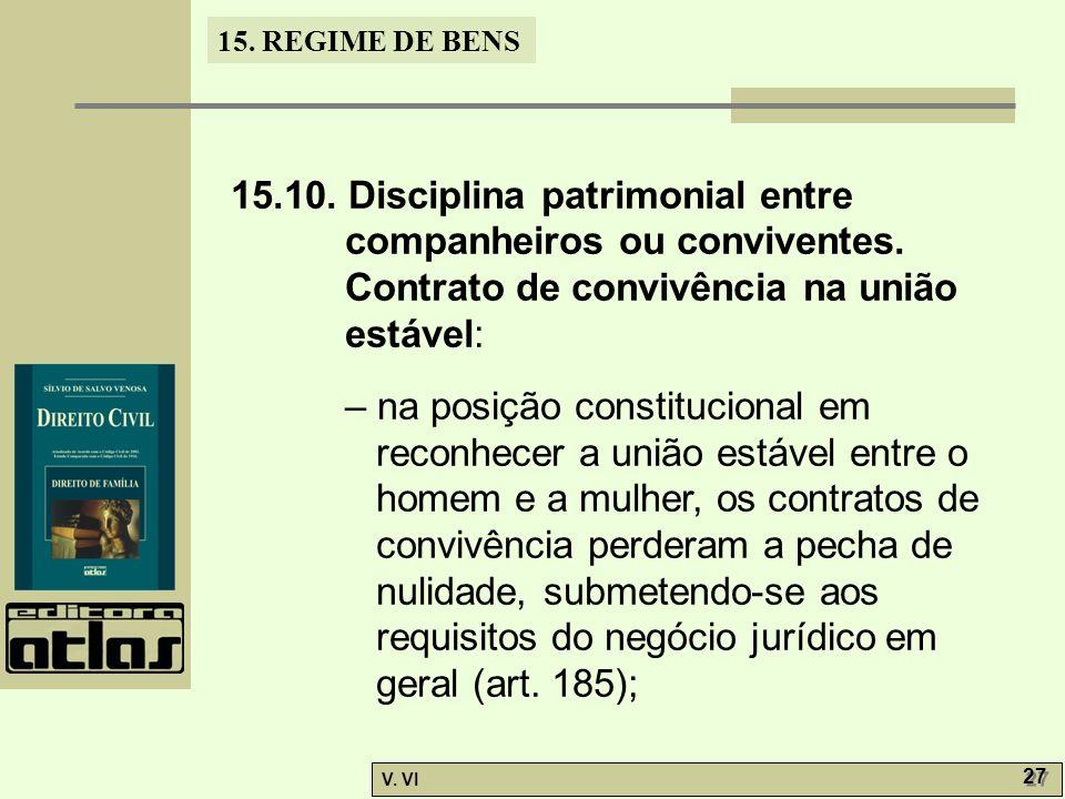 15. REGIME DE BENS V. VI 27 15.10. Disciplina patrimonial entre companheiros ou conviventes. Contrato de convivência na união estável: – na posição co