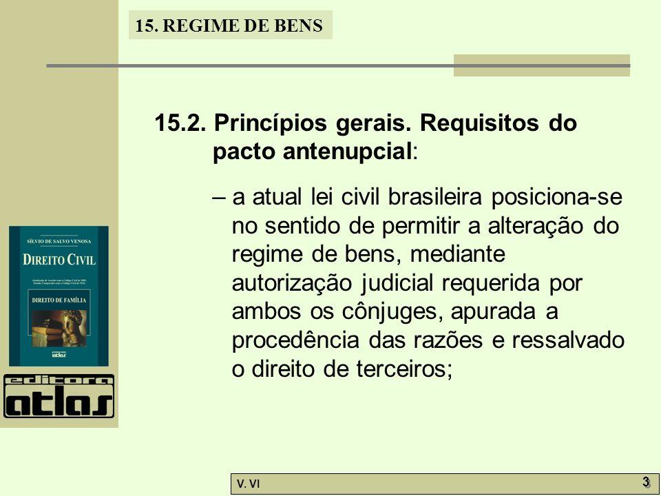 15. REGIME DE BENS V. VI 3 3 15.2. Princípios gerais. Requisitos do pacto antenupcial: – a atual lei civil brasileira posiciona-se no sentido de permi