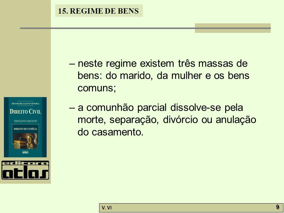 15. REGIME DE BENS V. VI 9 9 – neste regime existem três massas de bens: do marido, da mulher e os bens comuns; – a comunhão parcial dissolve-se pela