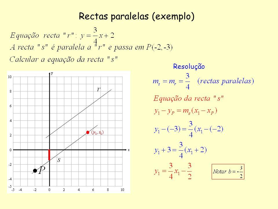 Rectas paralelas (exemplo) Resolução