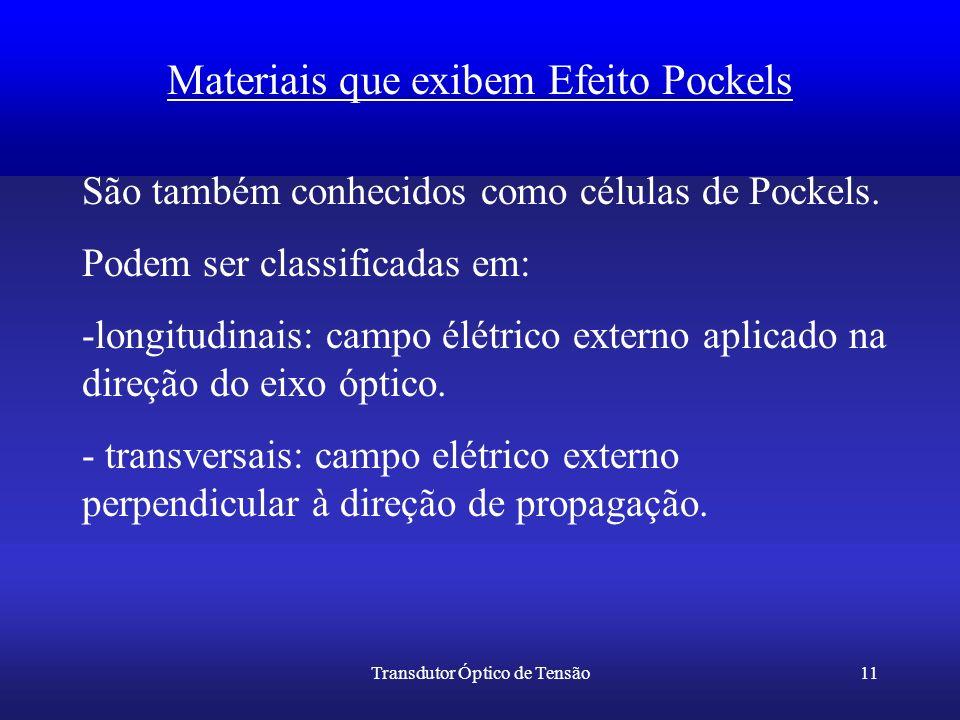 Transdutor Óptico de Tensão11 Materiais que exibem Efeito Pockels São também conhecidos como células de Pockels. Podem ser classificadas em: -longitud