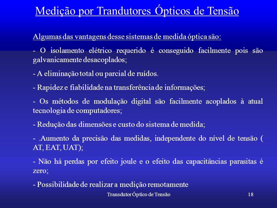 Transdutor Óptico de Tensão18 Medição por Trandutores Ópticos de Tensão Algumas das vantagens desse sistemas de medida óptica são: - O isolamento elét