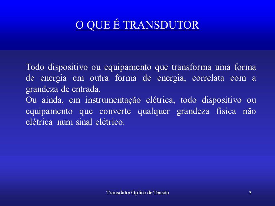 Transdutor Óptico de Tensão3 O QUE É TRANSDUTOR Todo dispositivo ou equipamento que transforma uma forma de energia em outra forma de energia, correla