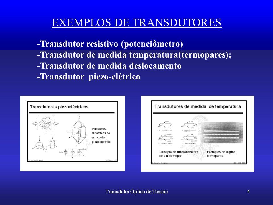 Transdutor Óptico de Tensão4 EXEMPLOS DE TRANSDUTORES -Transdutor resistivo (potenciômetro) -Transdutor de medida temperatura(termopares); -Transdutor