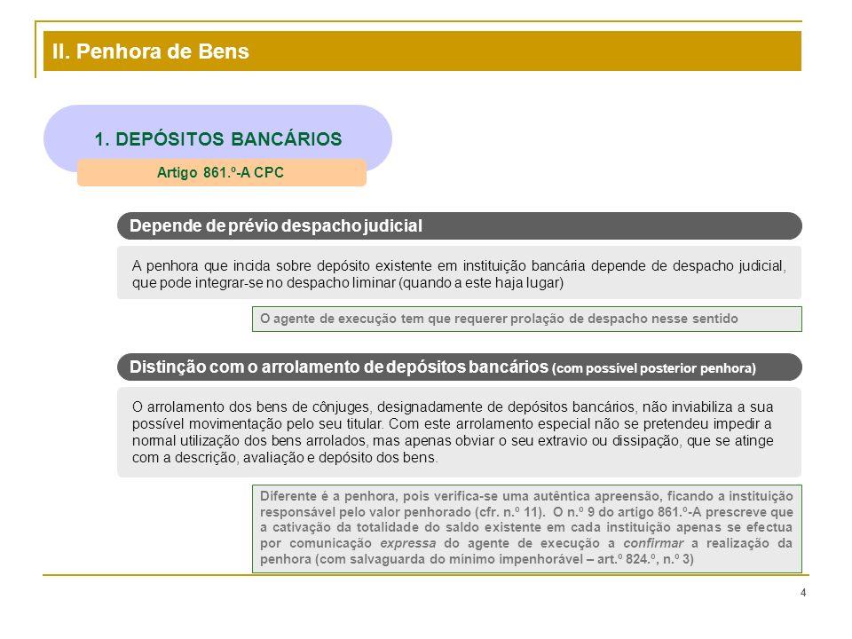 II. Penhora de Bens 4 1. DEPÓSITOS BANCÁRIOS Artigo 861.º-A CPC A penhora que incida sobre depósito existente em instituição bancária depende de despa