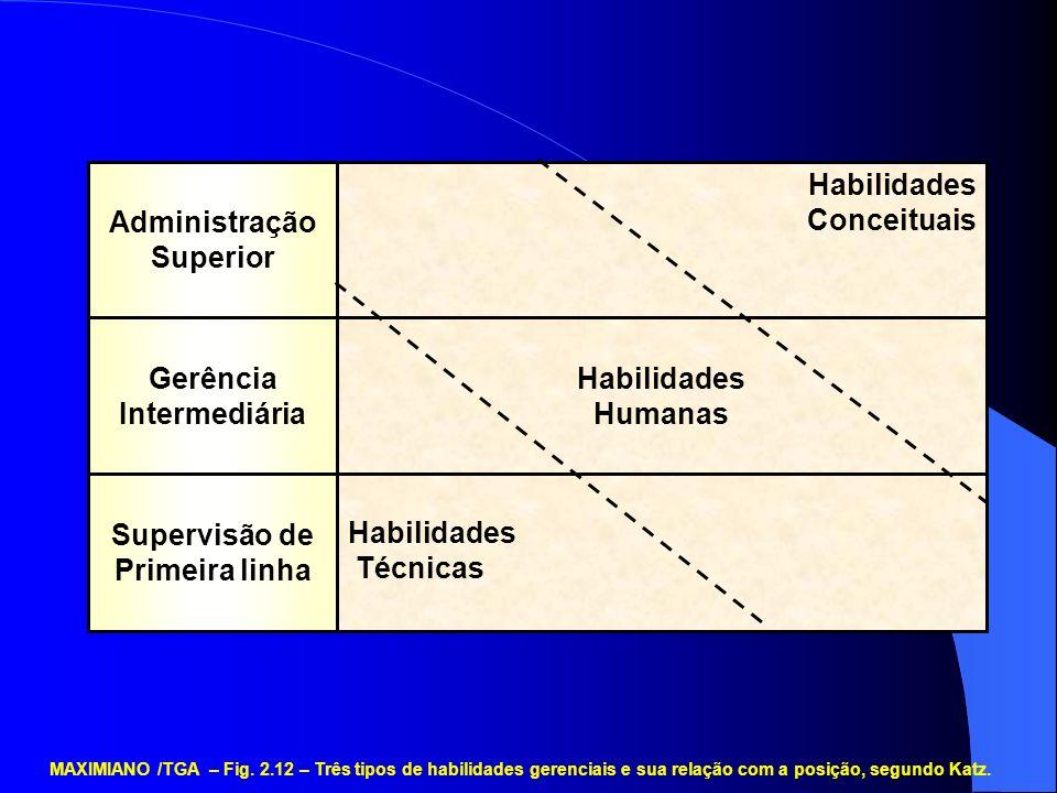 Habilidades Técnicas Habilidades Humanas Habilidades Conceituais Supervisão de Primeira linha Gerência Intermediária Administração Superior MAXIMIANO