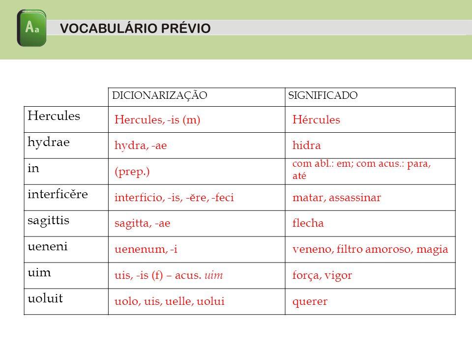 DICIONARIZAÇÃOSIGNIFICADO Hercules hydrae in interficěre sagittis ueneni uim uoluit Hercules, -is (m)Hércules hydra, -aehidra (prep.) com abl.: em; com acus.: para, até interficio, -is, -ĕre, -fecimatar, assassinar sagitta, -aeflecha uenenum, -iveneno, filtro amoroso, magia uis, -is (f) – acus.