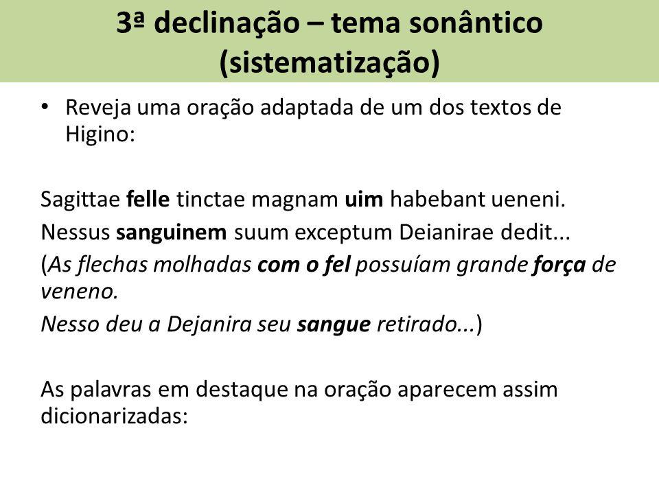 3ª declinação – tema sonântico (sistematização) Reveja uma oração adaptada de um dos textos de Higino: Sagittae felle tinctae magnam uim habebant ueneni.